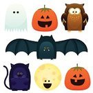 Pumpkin,Halloween,Owl,Ghost,jack-o-lantern,Domestic Cat,Moon,Halloween,Holidays And Celebrations