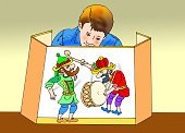 Child,Horizontal,Color Image,Puppet,Illustration,Shadow Puppeteer