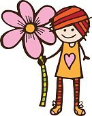 Large,Happiness,Cheerful,Holding,Flower,Adult,Color Image,Illustration,Cartoon,Oversized,Females,Women,Vector,Single Flower