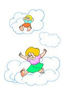 Child,Children Only,Vertical,Girls,Two People,Cloud - Sky,Illustration,People,Walking,Smiling