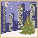 Christmas,scape,Night,Business,Winter,Tree,Urban Skyline,Snow,Fir Tree,Cityscape,Town,Vector,Sky,Window,Posing,Backgrounds,Spruce Tree,Clip Art,Illustrations And Vector Art,Sign,Year,Blue,Ilustration,Red,Gift