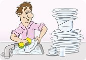 Adult,Characters,Men,Sink,Cartoon,Illustration,Cleaning,Housework,Cleaning Sponge,Plate,Washing,Washer,Domestic Room,Crockery,Domestic Life,Kitchen,Water,Lifestyles,Flushing Water,Vector,Domestic Kitchen,Standing