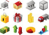 Isometric,Bank,House,Icon Set,Cash Box,Vector,Shopping Cart,Pie Chart,Currency,Truck,Safe,Gift,Set,Ilustration,Coin,Security,Bar Graph,Dollar,Arrow Symbol,Vector Icons,Business,Illustrations And Vector Art