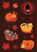 Hibernation,Autumn,Hedgehog,Squirrel,Bear,Sleeping,Baby,Bat - Animal,Cave,American Black Bear,Cartoon,Leaf,Winter,Brown Bear,Season,Maple Leaf,Comfortable,Mother,Young Animal,Cute,Characters,Animals In The Wild,Squirrel Family,Napping,Small Group Of Animals,Animals And Pets,Nature,Weekend Activities,Vector,Winter,Backgrounds,Group Of Animals,Rodent,Baby Animals,Ilustration,Mammal,Brown