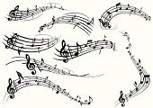 Music,Musical Note,Sheet Music,Musical Staff,Symbol,Design Element,Swirl,Musical Symbol,Treble Clef,Ilustration,Flowing,Wave Pattern,Decoration,No People,White Background,Multiple Image,Arts And Entertainment,Illustrations And Vector Art,Concepts And Ideas,decorative ornament