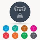 Leadership,Success,Achievement,Sport,Straight,Vector,Award,Winning,Sign,Symbol,Illustration,Arranging,Cup,Outline,Trophy,Circle,Badge,Blue