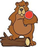 Bear,Log,Brown Bear,Stop,Stop Sign,Cruel,Furious,Animals In The Wild,Anger,Displeased,Illustrations And Vector Art,Communication,Concepts And Ideas,Sign,Brown,Animal,Stop Gesture