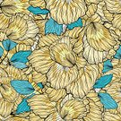 Square,No People,Flower,Art And Craft,Plant,Art,Illustration,Leaf,Seamless Pattern,Backgrounds,Blossom,Floral,Blue,Pattern,Floral Pattern,Yellow,Brown