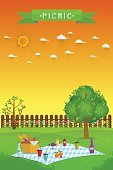 Celebration,Heat - Temperature,Speed,Background,Outdoors,Picnic,Summer,Front or Back Yard,Illustration,Nature,Inviting,Family,Food,Hamburger,Invitation,Picnic Basket,Organic,Basket,Ketchup,Backgrounds,Tree,Grass,Fun,Vector,Tablecloth,Meat,Red