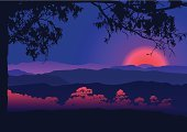 Sunset,Landscape,Purple,Japan,Mountain,Forest,China - East Asia,Valley,Scenics,Vector,Panoramic,Silhouette,Backgrounds,Fog,Night,Nature,Tree,Sky,Hill,Red,Non-Urban Scene,Horizontal,Sun,Twilight,Sunlight,Dusk,Looking At View,Ilustration,European Alps,Focus On Background,Beauty In Nature,Horizon,Bush,Viewpoint,East,Back Lit,Illustrations And Vector Art,Vector Backgrounds,Vector Florals,Recreational Pursuit,Plant,Vector Cartoons,Land,Adventure,Outdoors