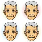 Men,Human Face,Cartoon,Old,Facial Expression,Sadness,Depression - Sadness,People,Senior Adult,Chinese Ethnicity,Human Eye,Anger,Displeased,Furious,Ilustration,Vector,Asian Ethnicity,Cheerful,Human Head,Smiling,Japanese Ethnicity,Human Lips,Happiness,Male,Emotion,Hairstyle,Manga Style,Outline,Obsolete,Laughing,Characters,Male Beauty,Design,Lifestyle,Modern,People,Concepts And Ideas,Short Hair,Korean Ethnicity,Human Skin,Serene People,Seniors,Feelings And Emotions