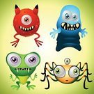 Monster,Alien,Cute,Baby,Cartoon,Halloween,Child,Human Face,Graffiti,Humor,Characters,Symbol,Sign,Small,Vector,Fun,Collection,Ilustration,Perks,Graf Zeppelin,Computer Graphic,Posing,Four Objects,Four People,Isolated,Four Animals,Illustrations And Vector Art,Spotted,terrestrial