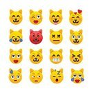 Humor,Emoticon,Domestic Cat,Sign,Animal,Cute,Cheerful,Manga Style,Illustration,Symbol,Human Body Part,Kitten,Pets,Fun,Vector,Human Face,Emotion,Laughing,Facial Mask - Beauty Product,Touching,Facial Expression,Crying,Yellow