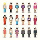 Pixelated,Art,People,Video Game,Painted Image,Characters,Women,Cartoon,Men,pixel art,Female,Vector,Computer Graphic,Teenage Girls,1980s Style,Ilustration,Drawing - Art Product,Clip Art,Design Element,Dress,Young Women,pixel-art,Mid Adult Women,People,Illustrations And Vector Art,Vector Cartoons