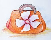 81352,Horizontal,Elegance,No People,Handle,Oil Pastel Drawing,Illustration,Fashion,Single Flower,Decoration,Paintings,Arts Culture and Entertainment,Single Object,Bag,Purse