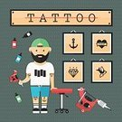 Tattoo Machine,inked,Old School Tattoo,Retro Styled,USA,Swallow - Bird,Anchor - Vessel Part,Sailor,Illustration,Ink,Cap,Flat,Diamond Shaped,Heart Shape,Flat Design,American Culture,Vector,Tattooing,Drawing - Art Product,Punk - Person,Cap,Tattoo,Beard