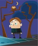 Fear,Owl,Little Boys,People,Illustrations And Vector Art,Vector Cartoons,One Person,Spooky,Night,Forest