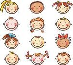 Child,Human Face,Cartoon,Smiling,Human Head,Little Girls,Little Boys,Child's Drawing,Happiness,People,Group Of People,Sketch,Set,Collection,Ethnicity,Isolated