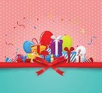 Horizontal,No People,Anniversary,Holiday - Event,Congratulating,Illustration,Birthday,Bright,Ribbon - Sewing Item,Balloon,Decoration,Confetti,Bright,Group Of Objects,Multi Colored,Greeting,Colors,Green Color