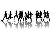 Running,Jogging,Marathon,Silhouette,Athlete,Group Of People,Muscular Build,Men,Sport,People,The Human Body,Sprinting,Sports Race,Sports Training,Exercising,Isolated,Motion,Vector,Strength,Male,Ilustration,Adult,Recreational Pursuit,Speed,Action,Painting,People,Sports Symbols/Metaphors,Vector Cartoons,Sports And Fitness,Illustrations And Vector Art,Young Adult,Healthy Lifestyle,Competitive Sport