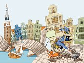 Amsterdam,Holland,Bicycle,City,Domestic Cat,Netherlands,Dog,Bridge - Man Made Structure,Queen,Sport,House,Women,Vector,River,Home Interior,Ilustration,Urban Scene,Walking,Travel,Tower,Cultures,Passenger Ship,Travel Locations,Illustrations And Vector Art,Business Travel,People Traveling,Transportation