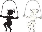 Rope,Jumping,Silhouette,Child,Jump Rope,Ponytail,Illustration,Line Art,Girls,Vector