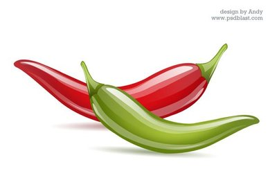 Hot red & green chili icon