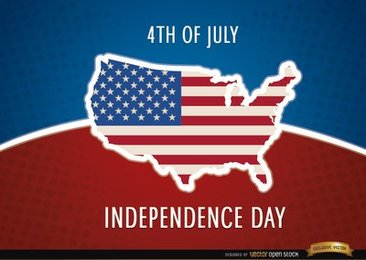 United States map flag July 4th