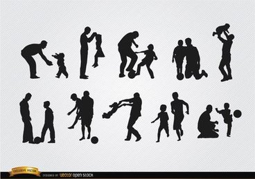Fathers playing with sons silhouettes
