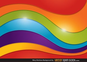 Abstract Wavy Rainbow Background