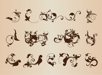 Vector Vintage Floral Design Ornament Elements