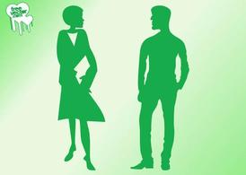 Talking Man And Woman Silhouettes
