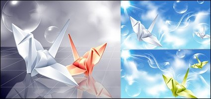 Vector background paper cranes and fantasy material