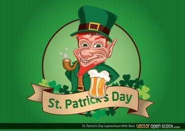 St Patrick's Day Leprechaun with Beer