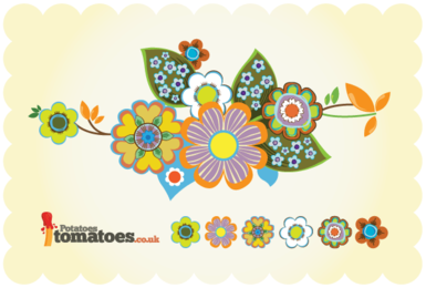 Retro Flowers Free Vector Art