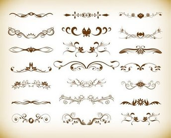 Vintage Element Decoration Vector Graphics Set