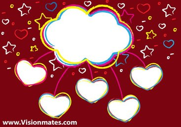Vector Clouds Valentine Design