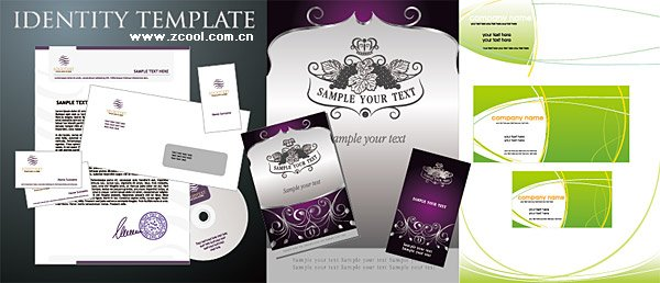 3 business cards and stationery template