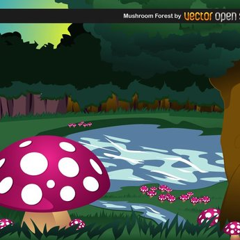 MUSHROOM FOREST VECTOR BACKGROUND.ai
