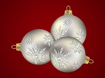 Silver Xmas Balls with Snowflake Decoration