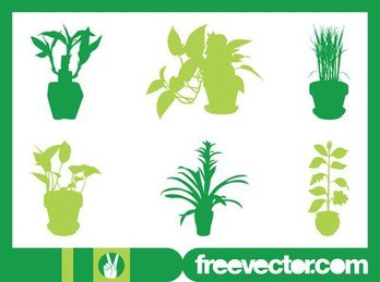 Interior House Plant Set Silhouette