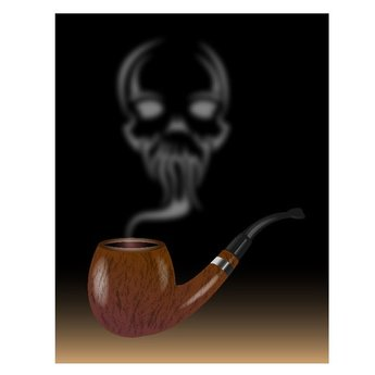 PIPE WITH SKULL IN SMOKE ILLUSTRATION.ai