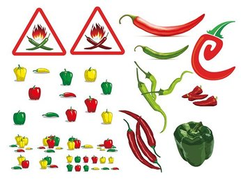 A variety of peppers
