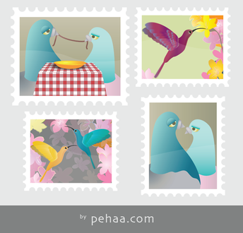 Four Colorful Stamps