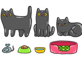 Cute Black Cat Vector Pack
