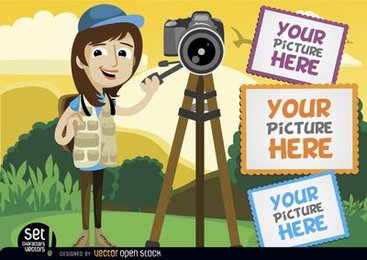 Photographer with camera and picture frames