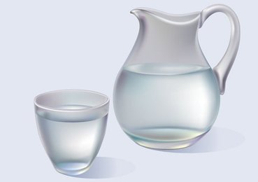 Jug and Glass of Water Vector Graphics (Free)