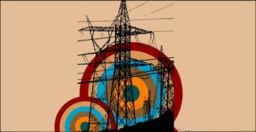 Retro Electric Tower with Circle Background