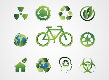 Green Ecological Bio Icons and Recycling Symbols (Free)