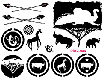 African Animals Silhouettes Vector Pack Free